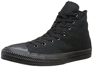 Converse Men's All Star Specialty Hi Black Size 42 fabric. inside of fabric. outsole of rubber.