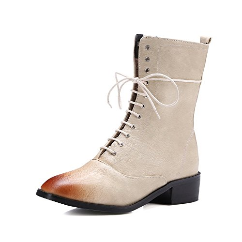 voguezone009-womens-low-top-zipper-soft-material-low-heels-square-closed-toe-boots-beige-37