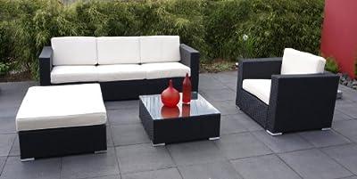 Exclusive Loungegruppe LIVORNO 4-teilig, Aluminium + Polyrattan dunkelgrau, mit Polstern creme