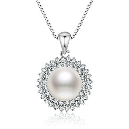 S.Vantine Kette Damen Perle AnHänger 925 Sterling Silber Halskette Sonnenblume Würfel-Zirkonia Kette für Damen