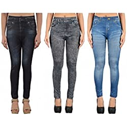 Denim 3D Printed Jeggings women's combo pack of 3