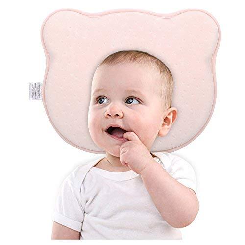 sen, Weich Samt Cartoon Speicher-Schaum Lagerungskissen Bettwäsche Schützend Kop U-Kissen für Neugeborenen Säugling Kleinkinder von 0 bis 1 Jahre, Bär Rosa ()