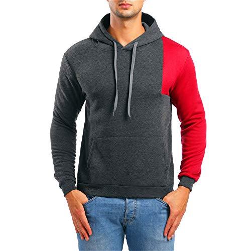 TWBB Herren Bekleidung Winter Warme Pacthwork Kapuzen Kapuzenpullover Mantel Outwear Oberteile Mit Tasche