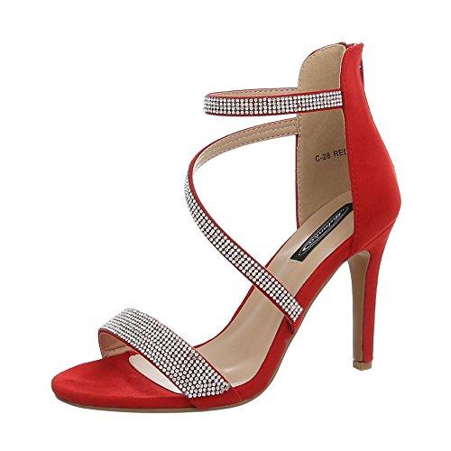 Ital-Design Damenschuhe Sandalen & Sandaletten High Heel Sandaletten Synthetik Rot Gr. 38 Sexy Fashion Schuhe High Heel