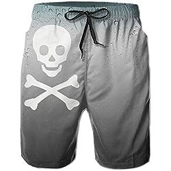 Bai Qian Bañador pirata de hombre, calavera con tibias, con bolsillo