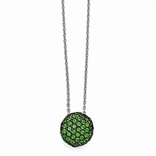 Cheryl M Sterling Silber mit Schwarz Rhodium Glas SIM. Smaragd Halskette-46cm