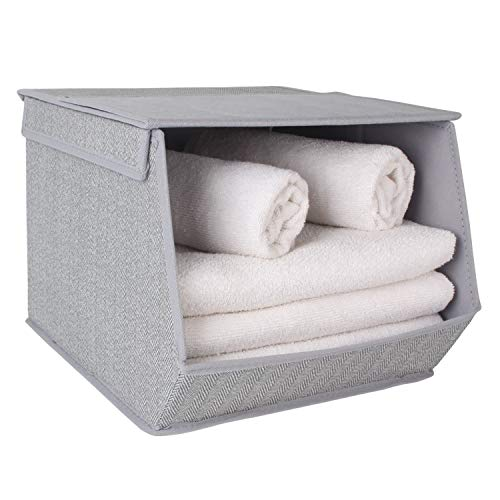 HomeStorie® Non-Woven Fabric Storage Organizer Box with Lid, Small, 25 x 35 x 24 cm