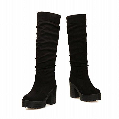Mee Shoes Damen simpel chunky heels Plateau Stiefel Schwarz