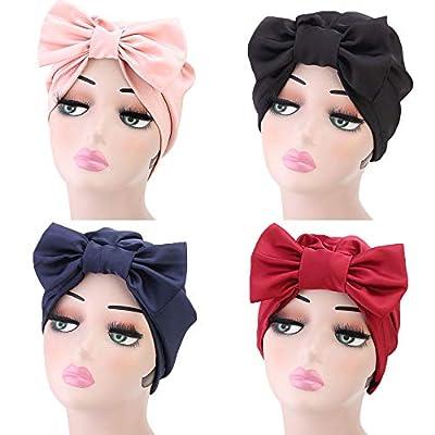 TITAP Women Ladies Retro Solid Bow Hat Turban Brim Hat Cap Pile Cap