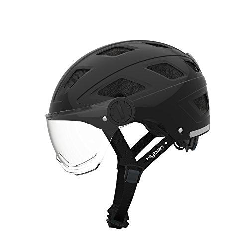 Abus Erwachsene Hyban + Fahrradhelm, Black-Clear Visor, M (52-58 cm)