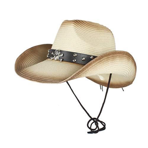 YEEWEN 2019 Mode Sommer Western Cowboy Hüte Unisex Stroh Cowgirl Party Kostüm Crimp Hut Outdoor UV Schutz Hüte for Männer (Farbe : Beige, Größe : 56-58) (Dallas Cowboys Kostüm Kinder)