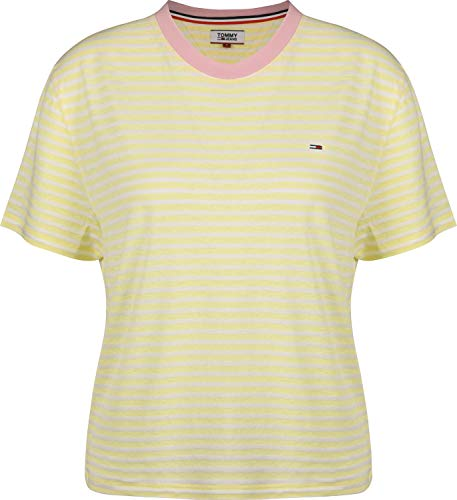 French White-tee (Tommy Jeans Damen Sportpullover TJW Summer Contrast Rib Tee, Gelb (French Vanilla/Classic White 709), X-Small (Herstellergröße: XS))