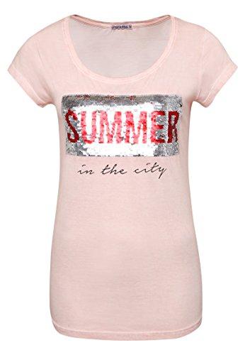 Stitch & Soul Damen Shirt mit Wendepailletten und Print Summer   Basic T-Shirt im Vintage-Look Rose L (Lassen Glänzen)