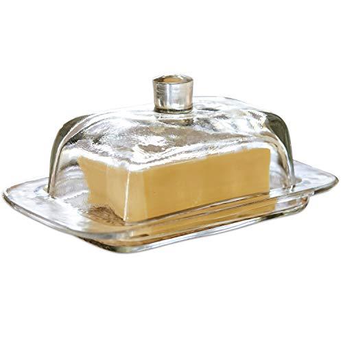 Loberon Butterdose Annie, Glas, H/B/T 8/17 / 11 cm, klar