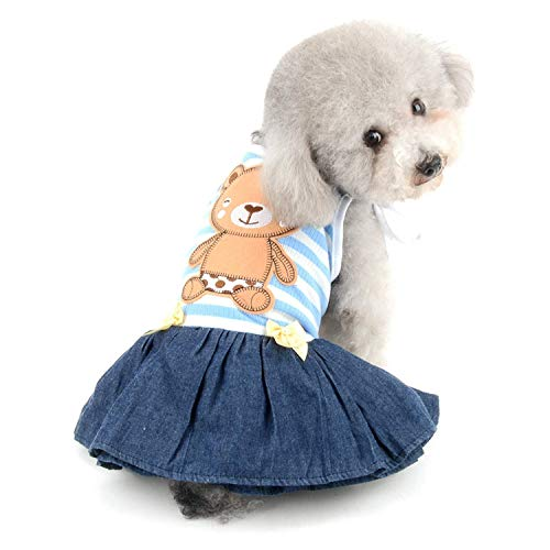 Bär gestreiftes Shirt Prinzessin sonnkleid für kleine Hunde Katzen Welpen Sommerkleid Outfits Stufenrock Party Kostüm Yorkie Chihuahua Shih Tzu Kleidung YAWJ (Color : Blue, Size : XS) (Shih Tzu Bär Kostüm)