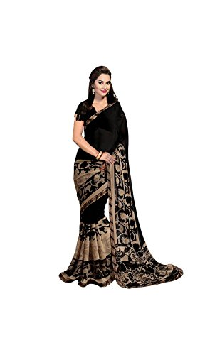Vipul Women's Branded Black & Beige Casual Wear Half And Half Printed Georgette Saree (Best Gift For Mummy Mom Wife Girl Friend, Exclusive Offers and Sale Discount)  available at amazon for Rs.197