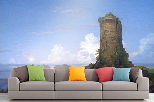 The Museum Outlet Roshni Arts®-kuratierte Art Wall Mural-Italian Coast Scene with Ruined Tower-Thomas Cole | selbstklebend Vinyl Ausstattung Décor Art Wand-121,9x 91,4cm