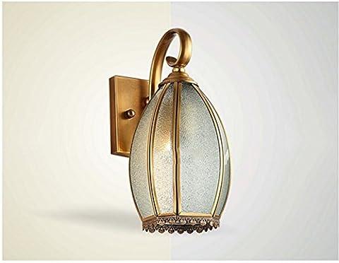 FAN4ZAME L'European Copper Wall Lamp Lampe De Chevet Chambre À Coucher Entrée De L'Hôtel Haut De Gamme De Diamètre 18 5* 34Cm Haute Source De Lumière Couloir D'Or