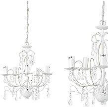 [lux.pro] Plafón moderno - luz de techo (5xE14) - Cromo/Plata - Iluminación colgante - blanco envejecido