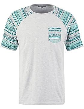 YOURTURN T-Shirt Camiseta de Hombre en Negro y Blanco o Gris y Azul con Diseño Tribal – Camiseta para Hombre Estampada...