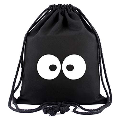 Cosstars My Neighbor Totoro Anime Sporttasche Turnbeutel Training Tasche Gym Sack Drawstring Bag Schwarz-3