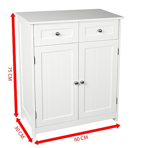Home discount priano 2 drawer 2 door bathroom cabinet for Floor standing mirrored bathroom cabinet