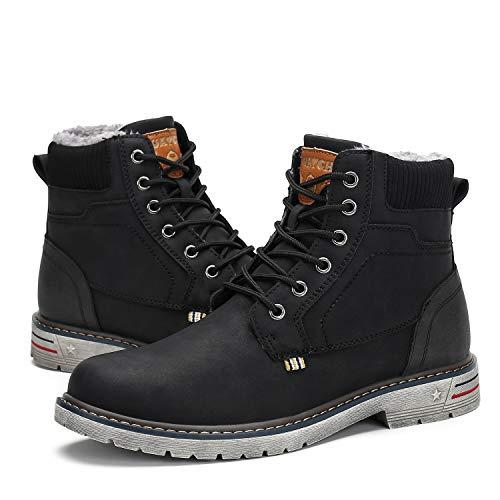 Botas de Nieve Hombre Antideslizante Invierno Botines Calientes Trekking Aire Libre Zapatos Negro 48