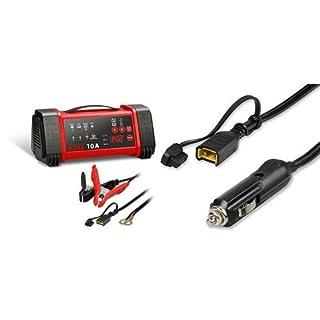 AEG Automotive 97019 Mikroprozessor-Ladegerät LL 10.0 Ampere für 12 und 24 V Batterien, 8-stufig und AEG Automotive 97213 Komfortanschluss Bordsteckdose KB 12