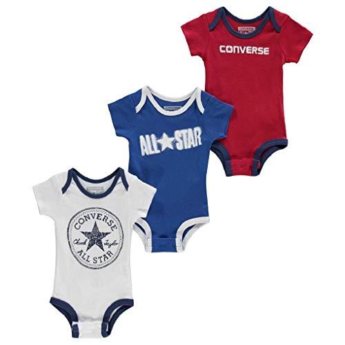 Converse 0-6 Monate Alter Neugeborene Jungen Sommer 3 Pack Strampler Body Top Fashion Geschenk (Converse Baby-kleidung)
