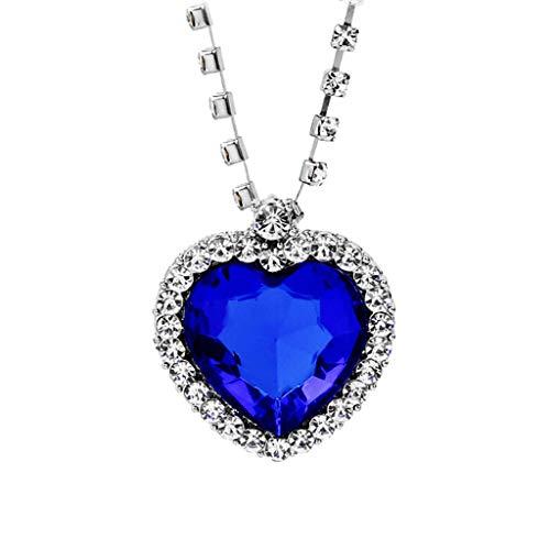 Loveso Liebe Herzen Halskette Kette Schmuck Kristall Strass Anhänger Halskette Elegante Halskette Modeschmuck für Damen - Stück Thong 1
