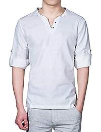 WWricotta Camisetas para Hombre Camisa de Manga Larga Suelto Lino Cuello en V Casual Moda Poleras