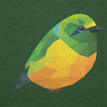 TEXLAB - Polygon Vogel - Herren T-Shirt Flaschengrün