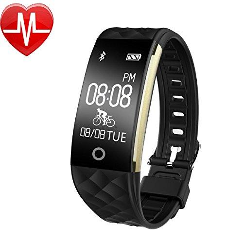 Fitness Armband,Wasserdicht Fitness Tracker Pulsuhr Bluetooth Smart Armband Aktivitätstracker mit Herzfrequenz Monitor SchlafÜberwachung Kalorien Track Schrittzähler Fahrradmodus für Android ios Handy