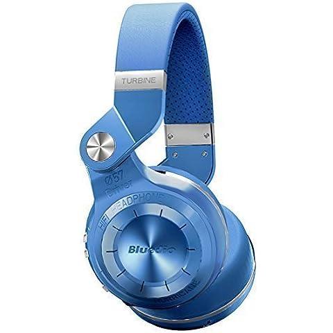 Bluedio T2 plus auriculares inalambricos bluetooth 4.1 con radio incorporada y micro sd (Azul)