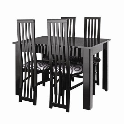 Manhattan Table with 4 Dining Chairs in Black Gloss