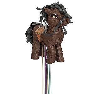 Unique Party- Piñata caballo para tirar, Color marrón (65988)