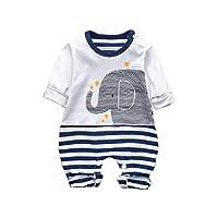 NEWLUK Infant Baby Boys&Girls丨Infant Rompers Long Sleeve Striped Elephant Jumpsuit Clothes (0-3M, Blue)