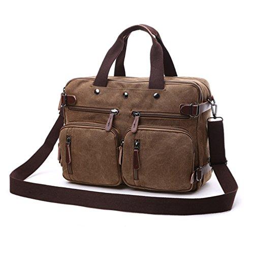 Herren Canvas Tasche Canvas Handtasche Schultertasche Ideal für Büro Canvas Rucksack Outdoor (Kaffee)