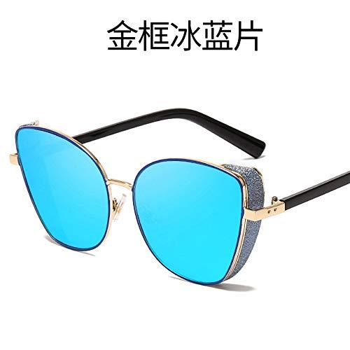 MJDABAOFA Sonnenbrillen Frauen Männer Sonnenbrille Gold Frame Farbverlauf Blau Vintage Metall Katze Augen Damen Sonnenbrillen Sport Fahren Für Dame Frau Und Männer Sonnenbrille