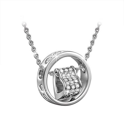 Contever® Colgante de Collar Anillo Corazón Chapado en Oro Blanco Austria de Cristal Claro de Cadena de longitud 45 cm con la caja de regalo