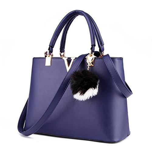 Baymate Ms. Beutel V-portable Mode-Hand einfache Schulter Elegant Handtasche Schultertasche Saphir Blau