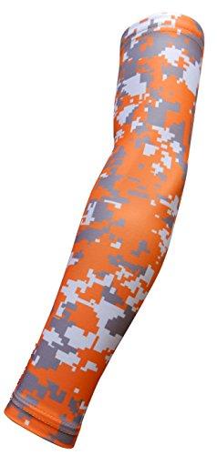 Sports Farm Jugend und Erwachsenen Größen Feuchtigkeitstransport Kompression Arm Sleeve (1Arm) (über 100Farben erhältlich in unserem Shop), Orange Gray White Digital Camo, Medium