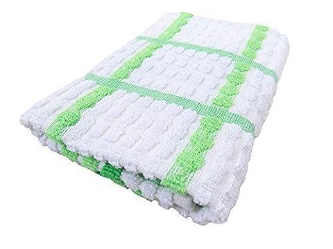 LUXE 100% coton épais doux grand Serviette à thé Kensington carreaux vert blanc 67 x 45cm - 26