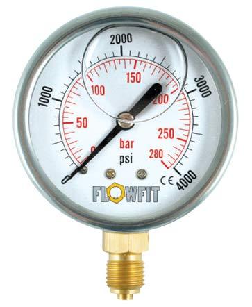Manómetro de presión de 63 mm relleno de glicerina de 0 a 300 PSI 21 bar de 1/4 pulgadas BSP BASE...