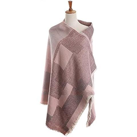 RUIRUI Color que empareja el mantón de la cachemira cálida bufanda de cuadrados geométricos ,
