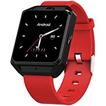 """OOLIFENG Android 6.0 GPS Orologio Intelligente, Barometro Termometro Bussola 1.54"""" TFT Display, Compatibile Ios E Android,,Red"""