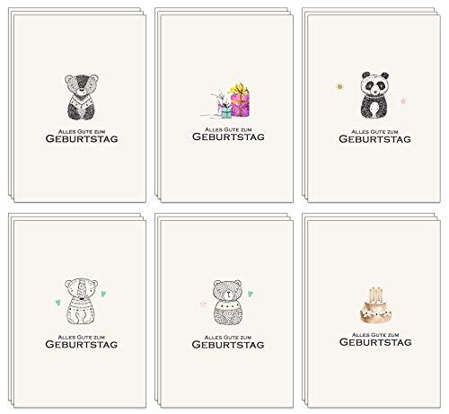 Geburtstagskarten Set - 48 Umweltfreundliche Karten und Umschläge aus recyceltem Papier, Kindergeburtstagskarten, Geburtstagskarten für Erwachsene ...