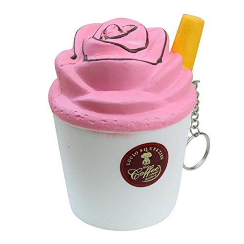 ielzeug, Soft Milk Eis Kaffee langsam Rising Squeeze Party Dekoration Spiel Dekompression Toys lindert Stress Relax Geschenk Schlüsselanhänger, PU, weiß, 8.0 cm * 8.0 cm * 11.5 cm (Apple-party Dekorationen)