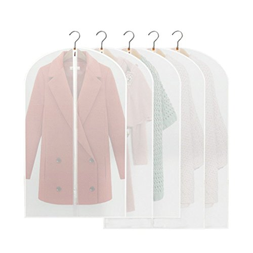 Confezione da 5in PEVA trasparente Suit Dress Abbigliamento, sacchetti per abiti con una lunga zip, 100x 60cm