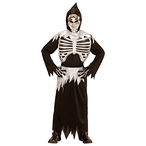 Widmann 03996 - Kinderkostüm Skelett, Robe, Maske, Brustkorb und Schärpe, Größe 128, schwarz